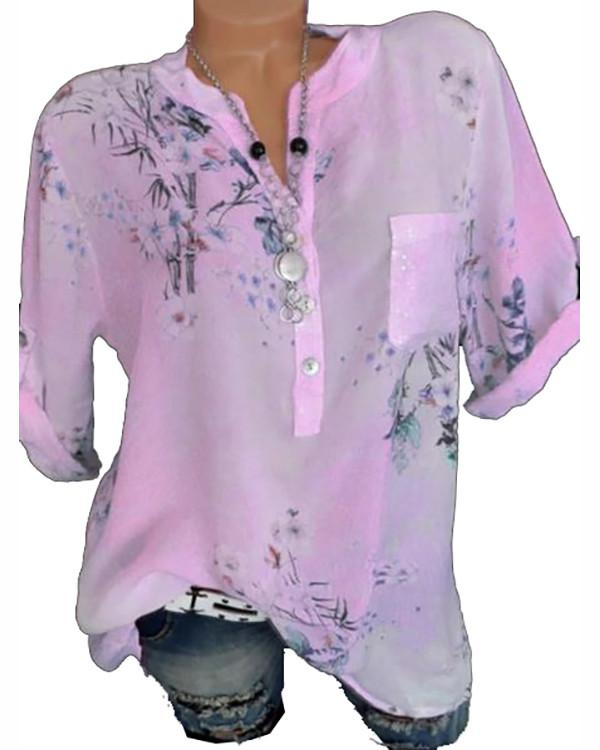 V Neck Loose Fitting Floral Printed Blouses