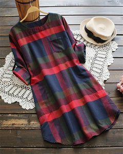 Women Casual Pluse Size Plaid Short Dress