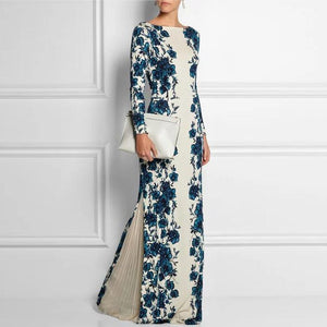 Autumn And Winter Small Round Neck Positioning Print Dress Long Skirt Maxi Dress