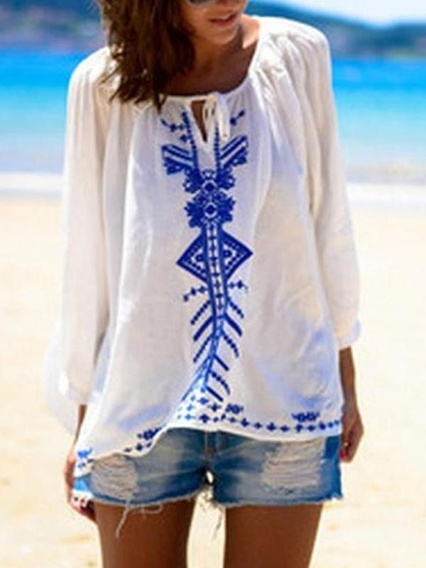 Women Casual Printed Colour Sun-Protective Belted Long Sleeve Beach Pullover