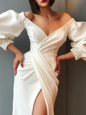 Women Commuting V Neck Bubble Sleeves Irregular Pure Colour Evening Dress