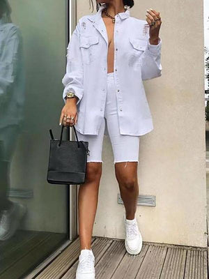 Women Casual Solid Color Single-Breasted With Pocket Pocket Shirt Shorts Suit