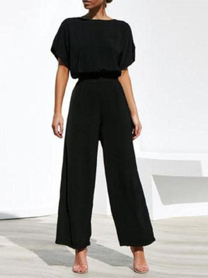 Women Commuting Wide-Leg High-Waist Trousers Short Sleeve Suit