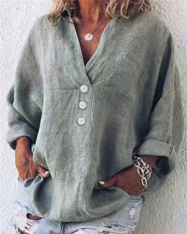 Cotton Linen Casual Buttoned Pockets Solid Long Sleeve Blouses - nayachic