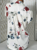 Print Floral Short Sleeve V Neck Casual Blouse - nayachic