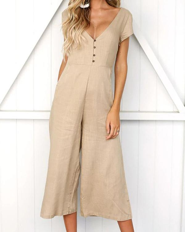 Women Casual Solid Color V Neck Jumpsuits - nayachic