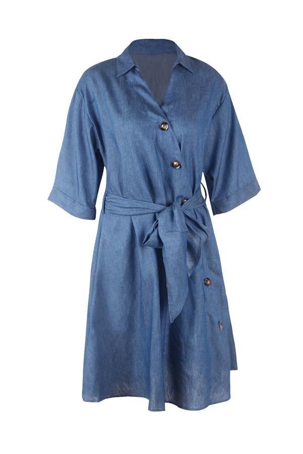 Tie Waist Button Down Elegant Shirt Dress 3/4 Sleeve Casual Dress