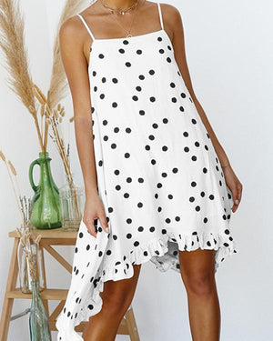 Women's Beach Chiffon Casual Polka Dot Spaghetti Strap Mini Dress - nayachic