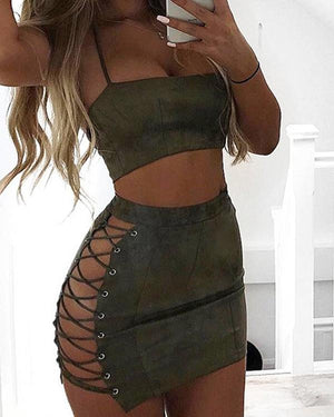Women Sexy Two-piece Solid Color Mini Bodycon Dress - nayachic