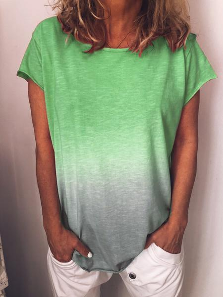 Women 2019 New Summer Fashion Round Neck Solid Color Gradient Short Sleeve