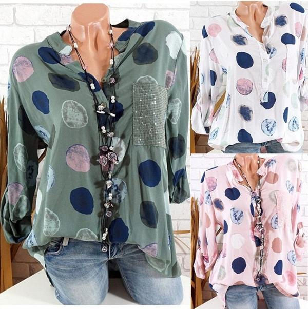 Women Casual Polka Dot With Pockets Plus Size Blouses Tops - nayachic
