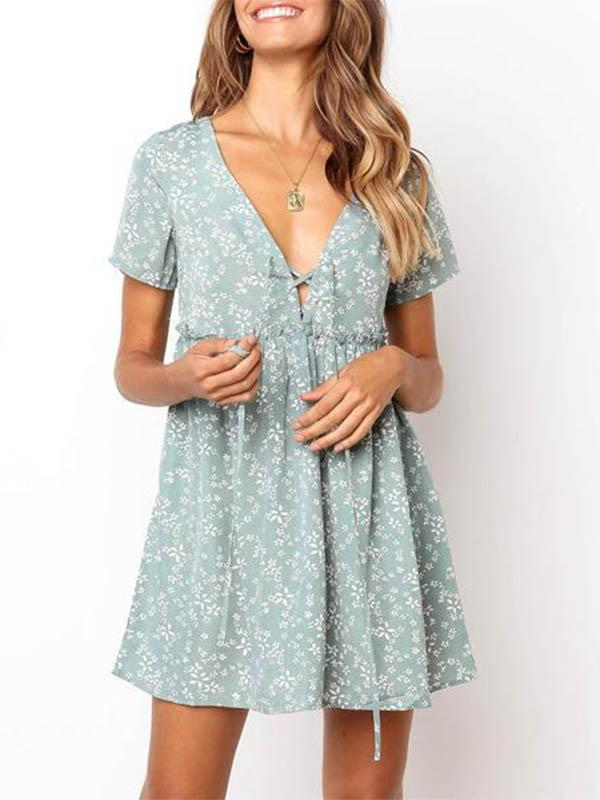 Women 2019 Bohemia Style Printed Flounce Vacation Dress