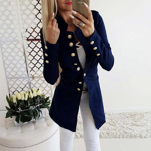 Women Ecogora Women's Vintage Button Long Sleeve Plain Blazers