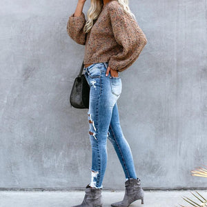 Women casual round neck loose long puff sleeves short sweater