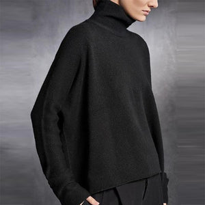 Brief High Collar Long Sleeve Loose Sweater