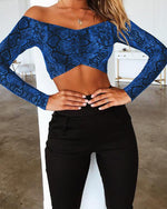 Off Shoulder Snake Print Bandeau Crop Top