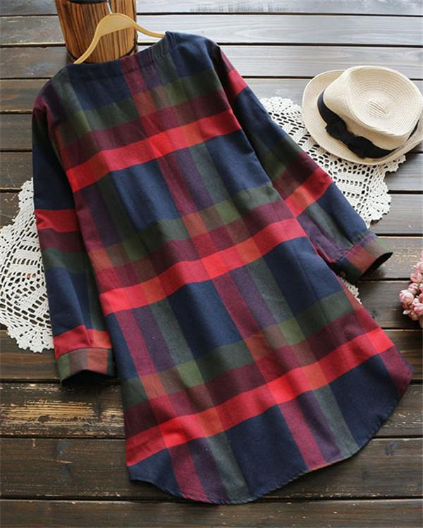 Women Casual Pluse Size Plaid Short Dress - nayachic