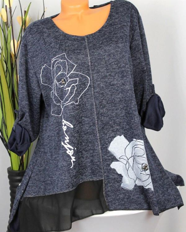 Rose Casual Crew Neck Tops Long Sleeve Women Blouse - nayachic