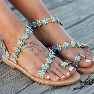 Summer Handmade Cute Beach Rhinestone Slip On Sandals - nayachic