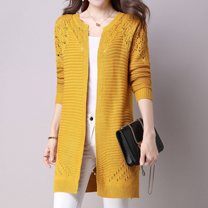 Collarless Snap Front Crochet Hollow Out Trench Coats