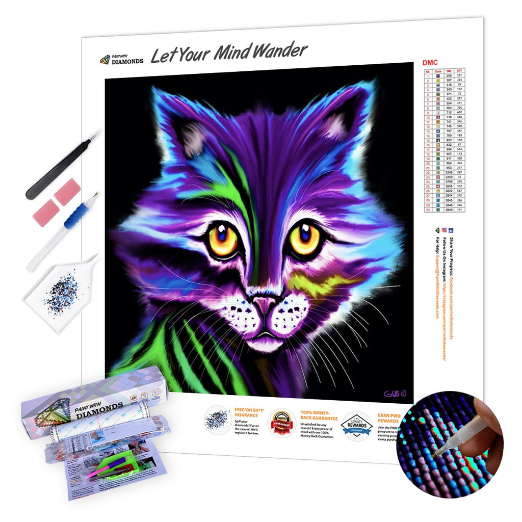 Colorful Striped Cat-5D Diamond Painting
