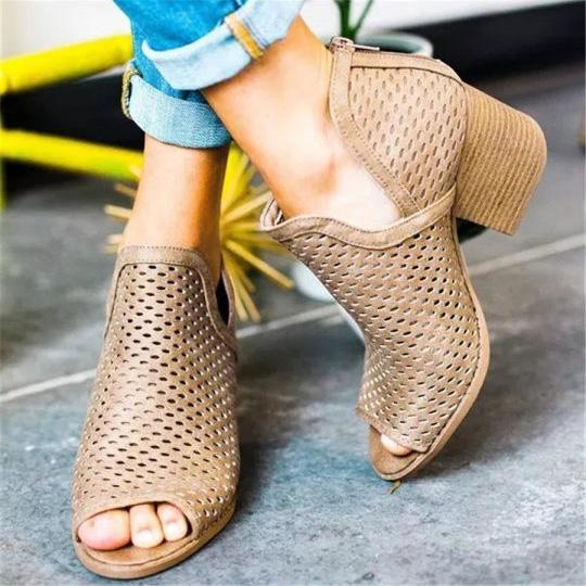 Openwork Fish Mouth Chunky Heel Sandals - veooy