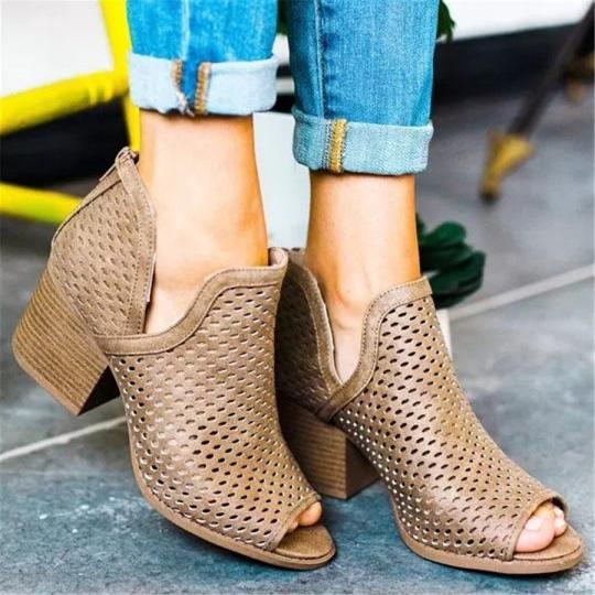 Openwork Fish Mouth Chunky Heel Sandals