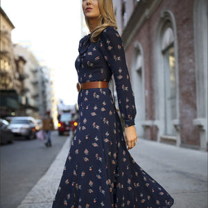 Women Casual Long Sleeve Printed Colour Elastic Maxi Dresses