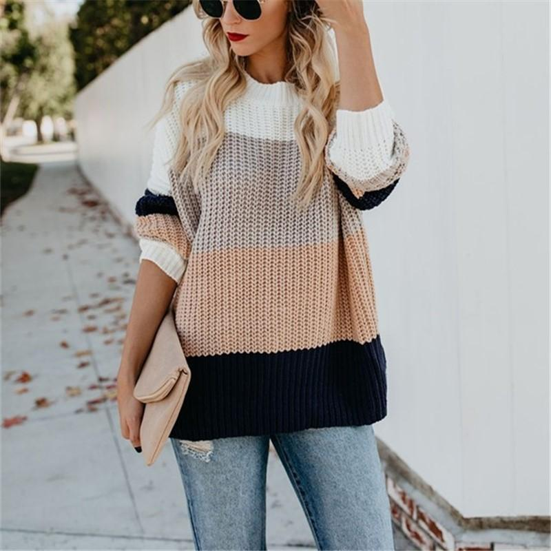 Casual Rainbow Stripe   Loose Knit Sweater Blouse