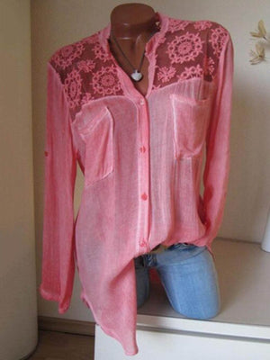Women Cotton/Linen Lace Plain  Long Sleeve Blouse