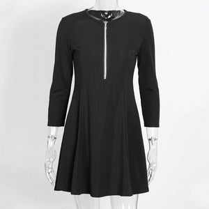 Sexy V-neck zipper Bodycon Mini Dress - nayachic