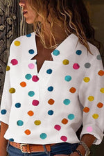 Women Asymmetric Neck Dot Blouses