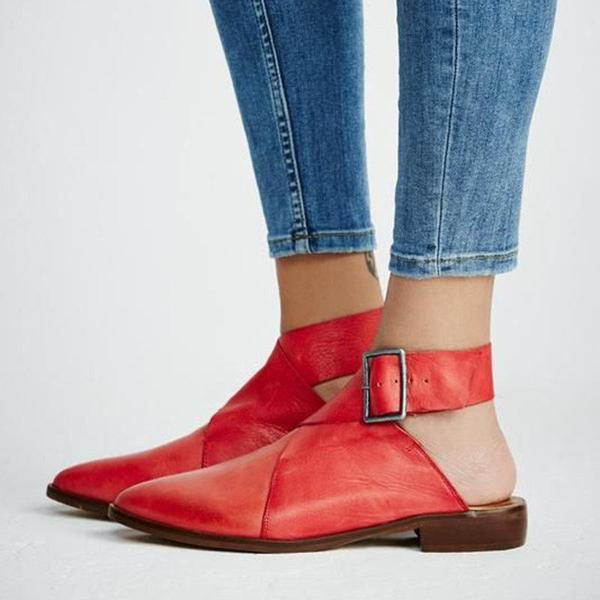 Casual Pointed Toe Buckle Sandals - veooy