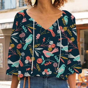 Women Brief Printed V Neck Shirt