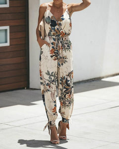 Women's Elegant Side-Slit Floral Print Jumpsuits