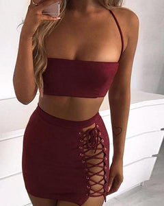 Women Sexy Two-piece Solid Color Mini Bodycon Dress