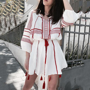 Women Beach Half Sleeve V Neck Printed Color Dress