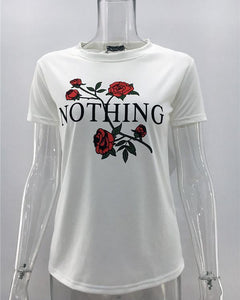 Fashion Casual Rose Printed  T-Shirt With High Round Collar