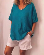 Plus Size V Neck Pure Color Summer Simple T-Shirts - nayachic