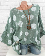 Plus Size Polka Dots Casual Bat Sleeve Blouse - nayachic