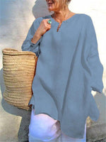 Casual Long Sleeve Linen Plus Size V-Neck Blouses - nayachic