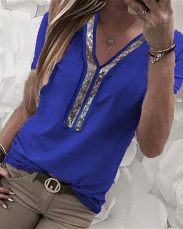 Plus Size  Short Sleeve Solid Color Tops Joint V Neck Blouse - nayachic