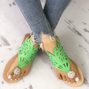 Sequins Embellished Hollow Out Toe Post Sandals