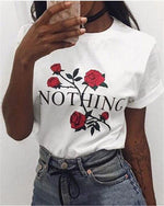 Fashion Casual Rose Printed  T-Shirt With High Round Collar - nayachic