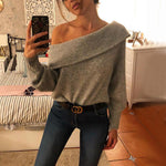 Women Casual Pure Color Single Shoulder Collar Sweater