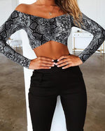 Off Shoulder Snake Print Bandeau Crop Top - nayachic