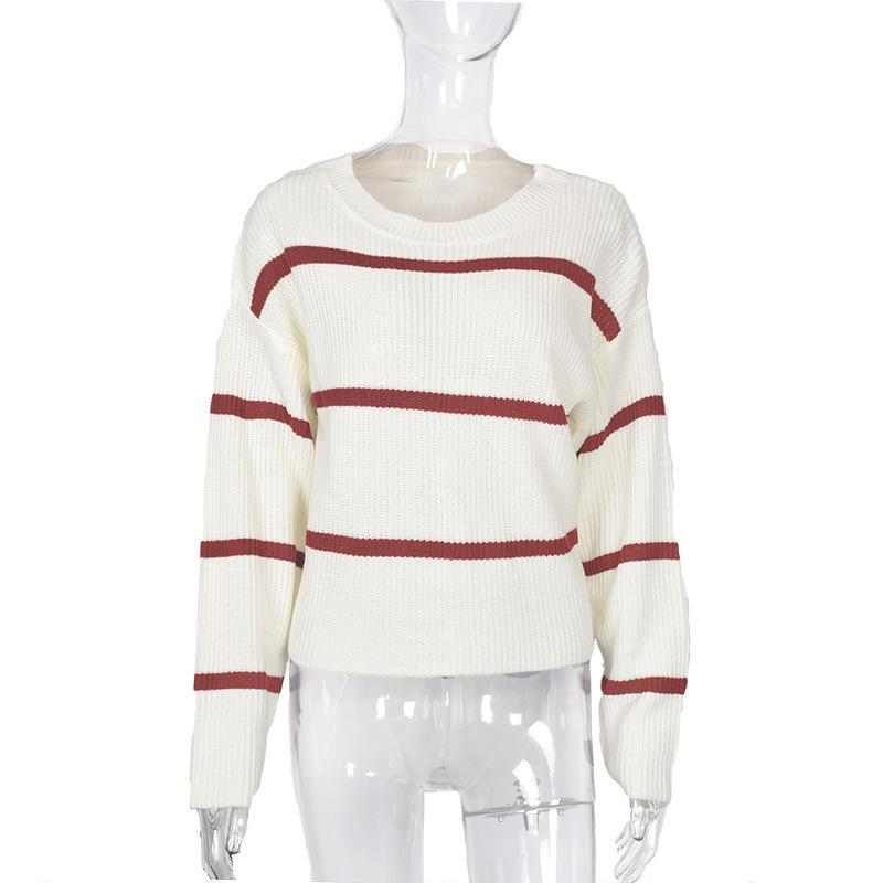 Casual Loose Stripe Long Sleeve Round Neck Sweater