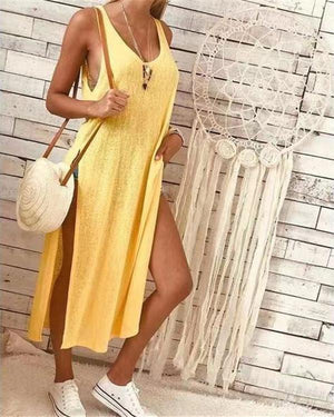 Women V Neck Dresses Shift Daily Solid  Dresses - veooy