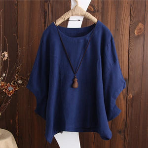 Batwing Solid Casual Crew Neck Plus Size Blouse