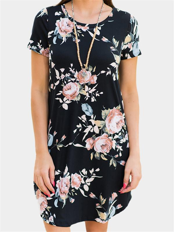 Random Floral Printed A-line Mini Dress - nayachic